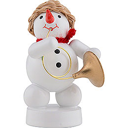 Snowman Musician with Bugle  -  8cm / 3 inch