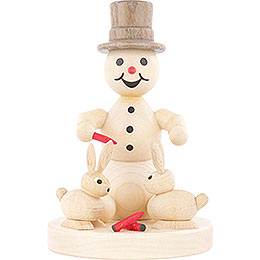 Snowman with Hares  -  10cm / 3.9 inch
