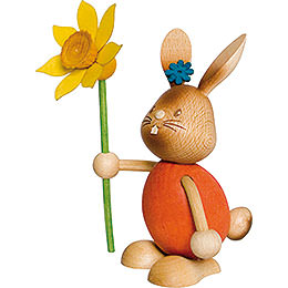 Snubby Bunny with Flower  -  12cm / 4.7 inch
