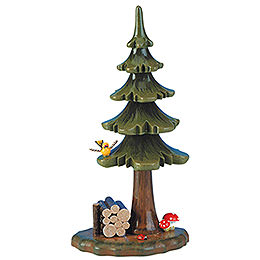 Summer Tree with Stack of Wood  -  16cm / 6 inch