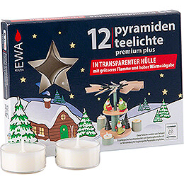 Tea Lights for Christmas Pyramids, Premium Plus, 12 pcs.