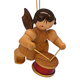 Tree Ornament  -  Angel with Drum  -  Natural Colors  -  Floating  -  5,5cm / 2,1 inch