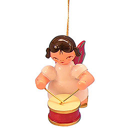 Tree Ornament  -  Angel with Drum  -  Red Wings  -  Floating  -  5,5cm / 2,1 inch