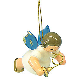 Tree Ornament  -  Angel with French Horn  -  Blue Wings  -  Floating  -  5,5cm / 2,1 inch