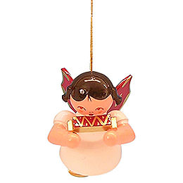 Tree Ornament  -  Angel with Harmonica  -  Red Wings  -  Floating  -  5,5cm / 2,1 inch