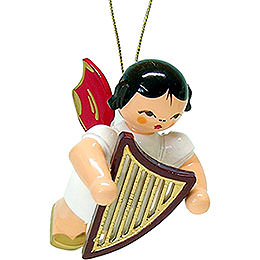 Tree Ornament  -  Angel with Lyre  -  Red Wings  -  Floating  -  5,5cm / 2.1 inch