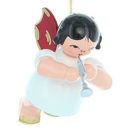 Tree Ornament  -  Angel with Piccolo Trumpet  -  Red Wings  -  Floating  -  5,5cm / 2.2 inch