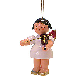 Tree Ornament  -  Angel with Violin  -  Red Wings  -  9,5cm / 3.7 inch