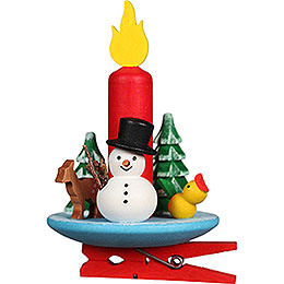Tree Ornament Candle with Snowman and Clip  -  6x8,5cm / 2.4x3.3 inch