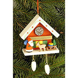 Tree Ornament  -  Cuckoo Clock Red with Niko  -  6,7x6,3cm / 2.6x2.5 inch