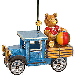 Tree Ornament  -  Truck with Teddy  -  5cm / 2 inch