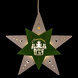 """Window Picture Star """"Oh Christmas Tree"""" White/Green  -  30,5x29x6cm / 12x11.4x2.4 inch"""