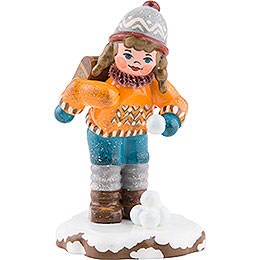 Winter Children Schoolgirl  -  7cm / 3 inch